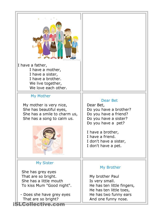 Family Poems   ESL   Pinterest   Family poems, Worksheets and ...