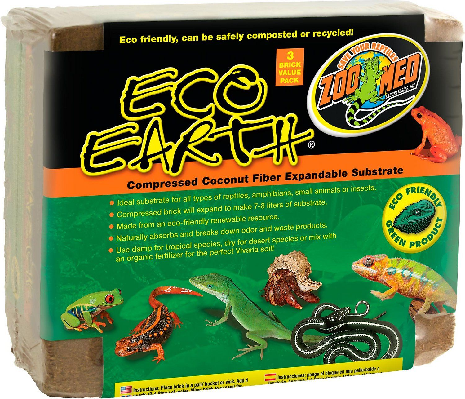 Zoo Med Eco Earth pressed Coconut Fiber Expandable Reptile