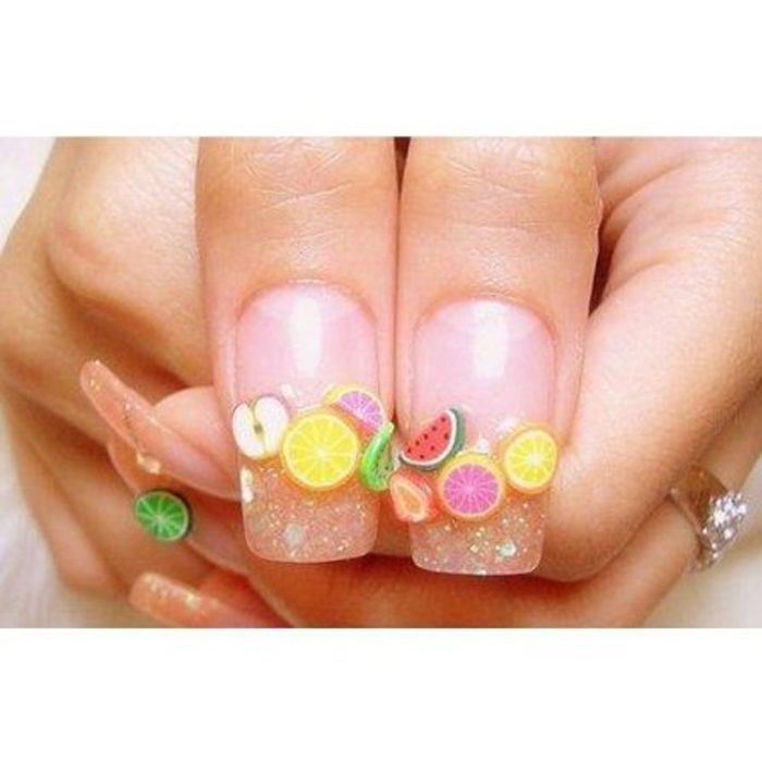 DIY Nail Art Stickers Kit Colorful Fruits Design Decal Manicure ...