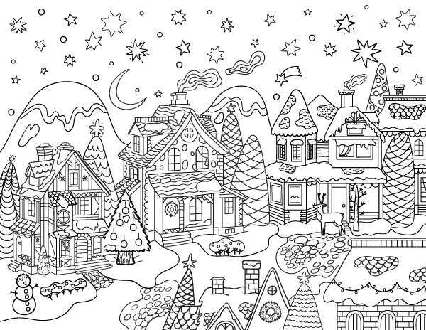 Free Printable Christmas Village Adult Coloring Page Download It