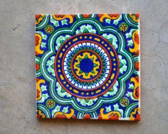 90 azulejos talavera pintadas a mano 4 x 4 por Pintar azulejos a mano
