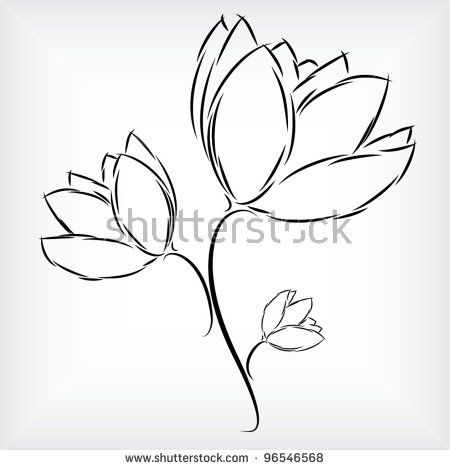 Simple hand drawing of beautiful three tulip flowers