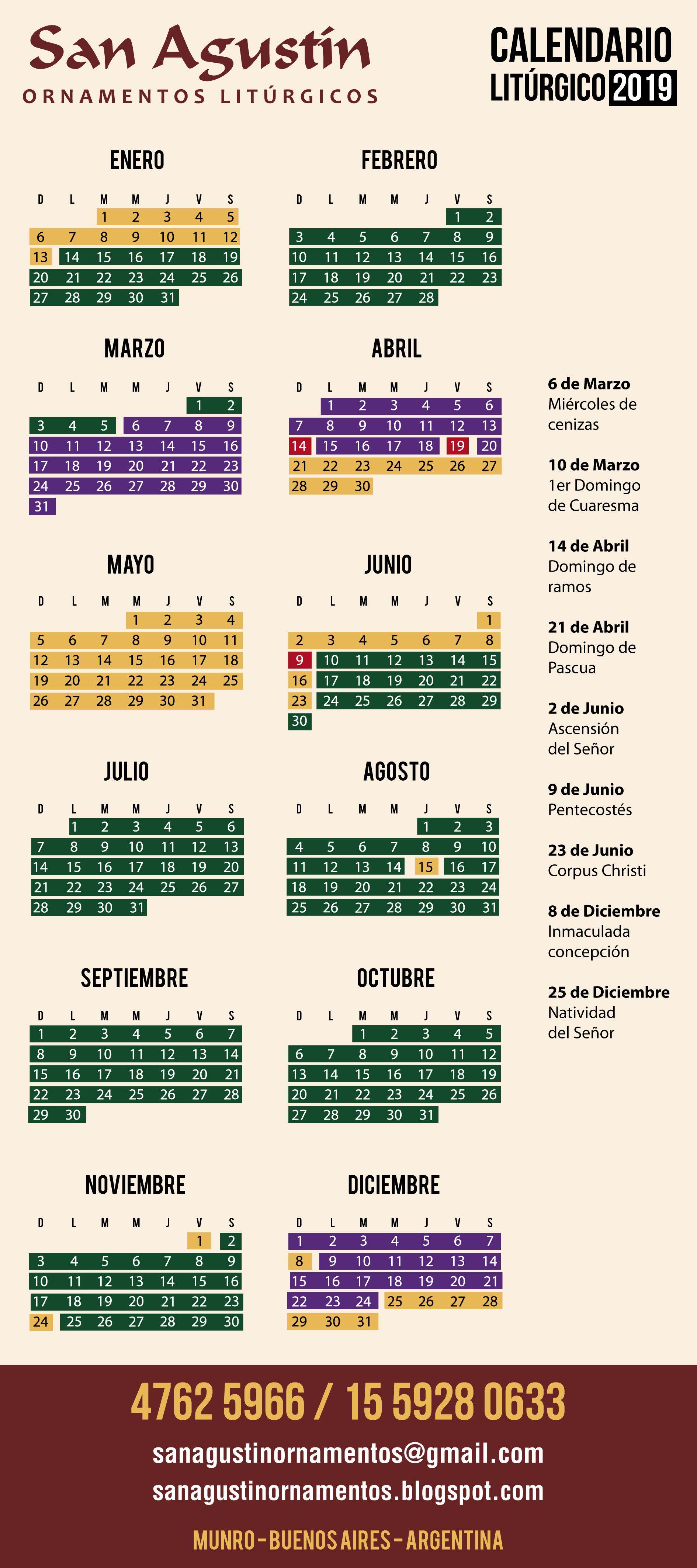 calendario lit u00fargico 2019