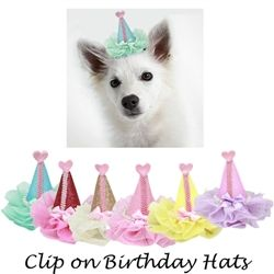 Dog Birthday Hat Hair Clip 3 X Inch Clips Perfect For Birthdays Or Other Doggy Parties