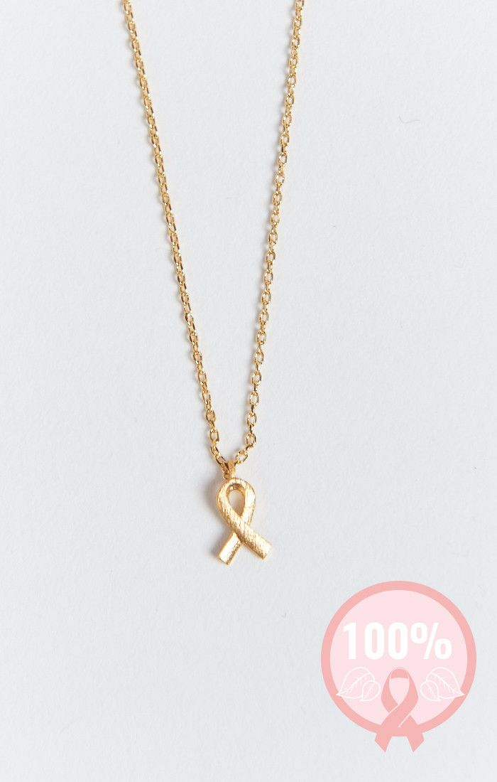 Breast Cancer Ribbon Necklace Gold Show Me Your Mumu Just