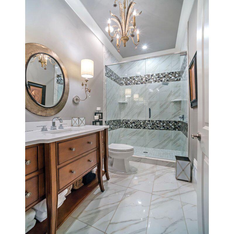 "Pietra Calacatta 12"" x 24"" Porcelain Field Tile Bathroom"