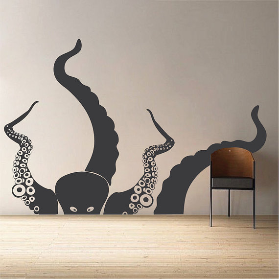 large octopus wall decal, ocean life wall decor, large wall decals