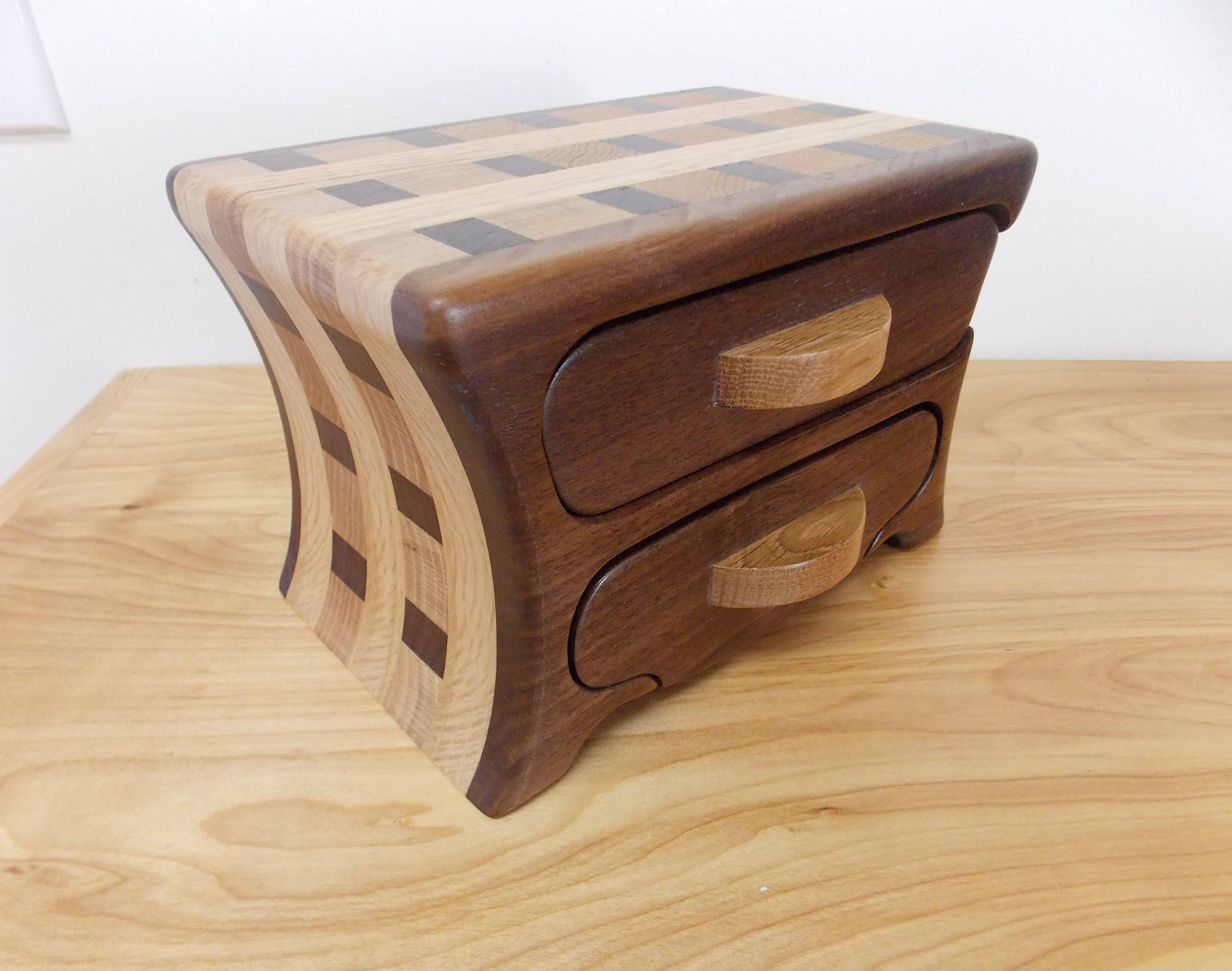 Small Walnut Wood Jewelry Box Walnut And Oak Jewelry Box Bandsaw