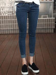 Синие утепленные облегающие джинсы  6602a291b05d4