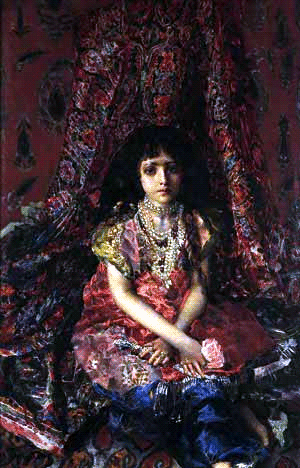 Mikhail Vrubel The Girl Against The Background Of Persian Carpet