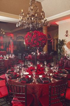 Fancy That! Events, Spanish Hills Country Club, Red Roses Centerpiece, Black Lace