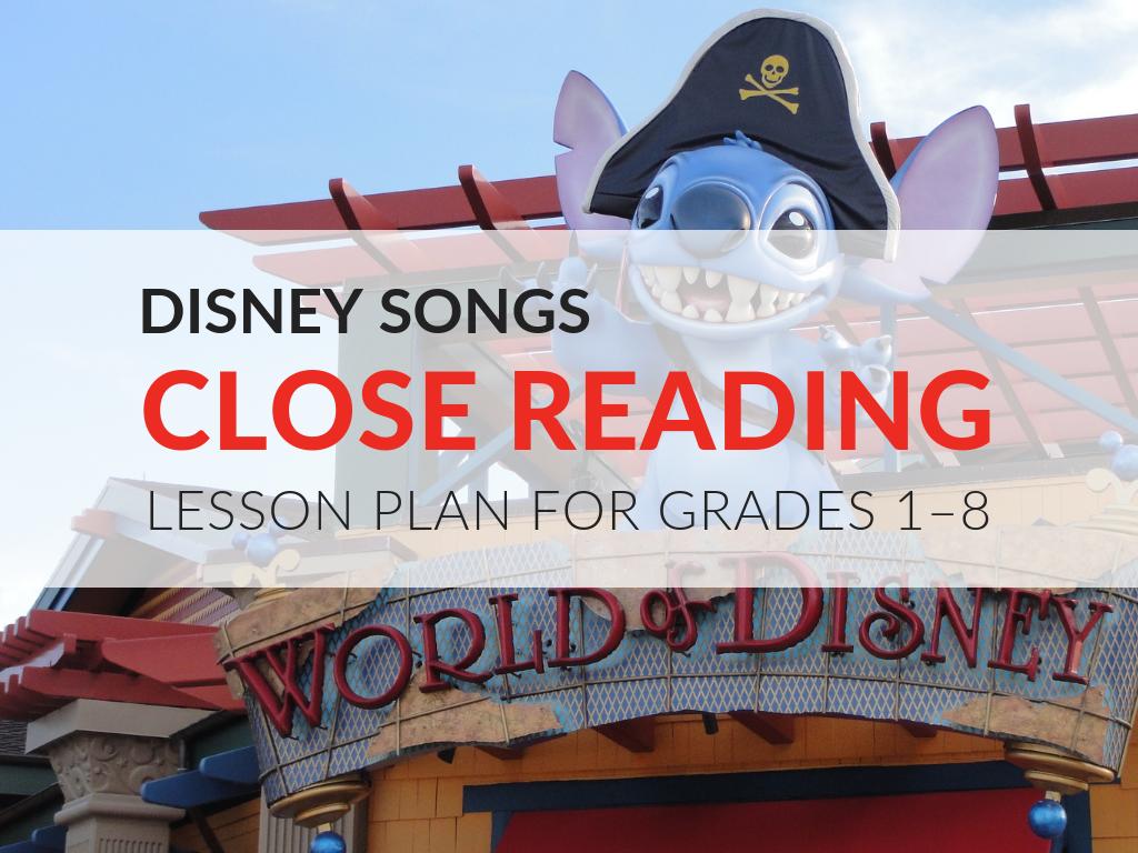 Disney Songs Close Reading Kit Grades 1 8