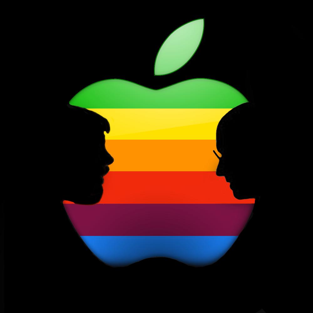 Steve x2 inside an Apple Steve jobs apple, Apple logo