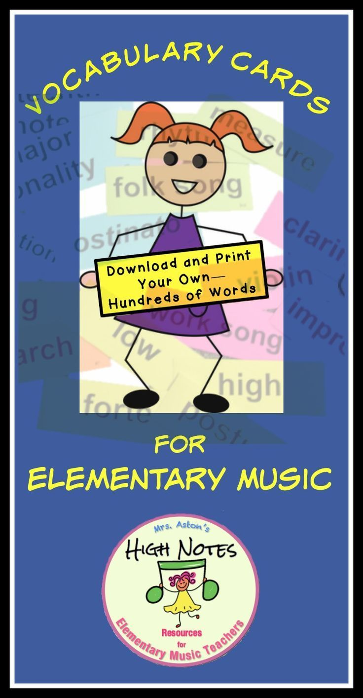 Vocabulary cards for Elementary Music based on the standards, K-5 ...