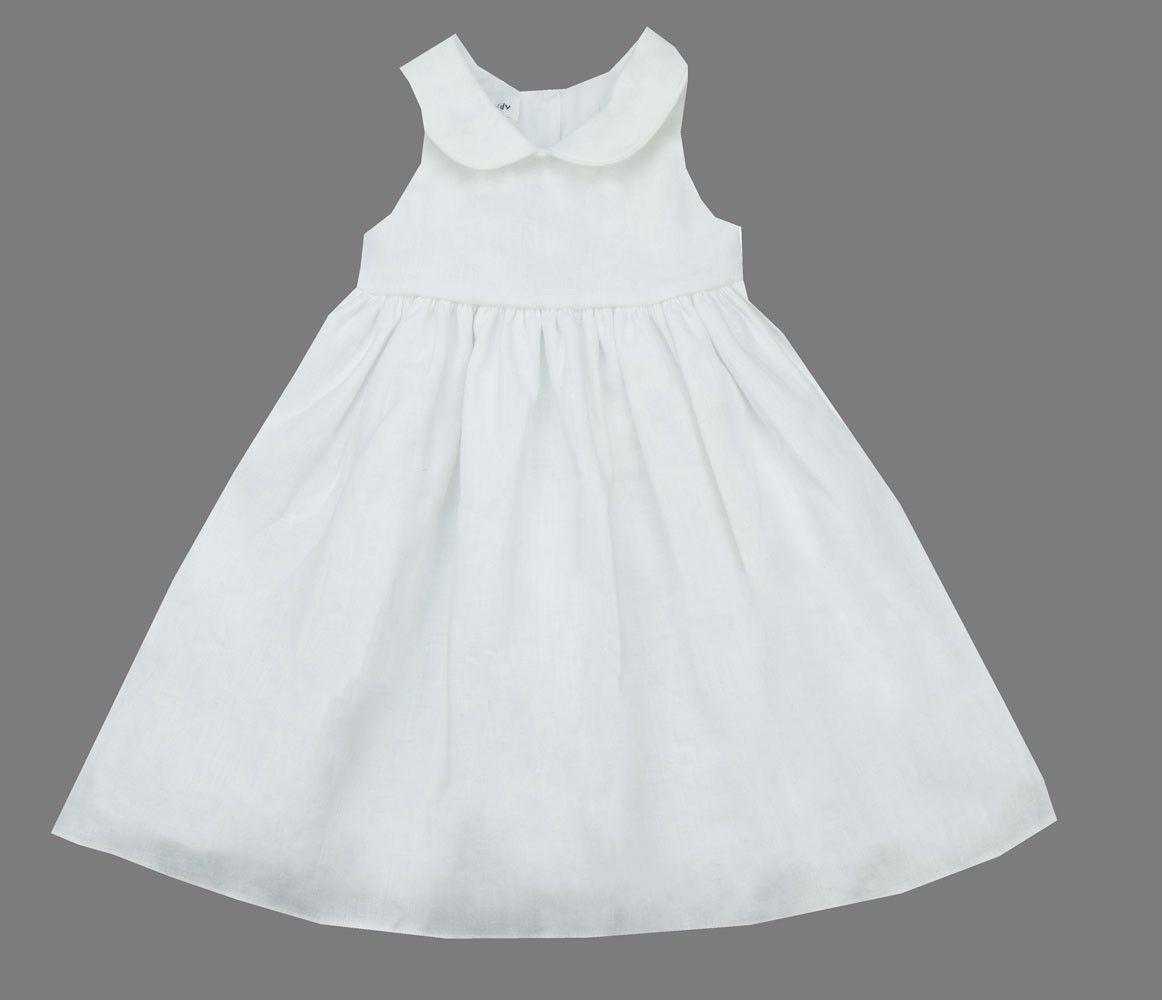 Jack & Teddy White Linen Dress - Baby/Toddler/Girl/Pre-teen Girl