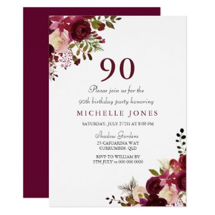 Elegant Burgundy Floral 90th Birthday Invitation