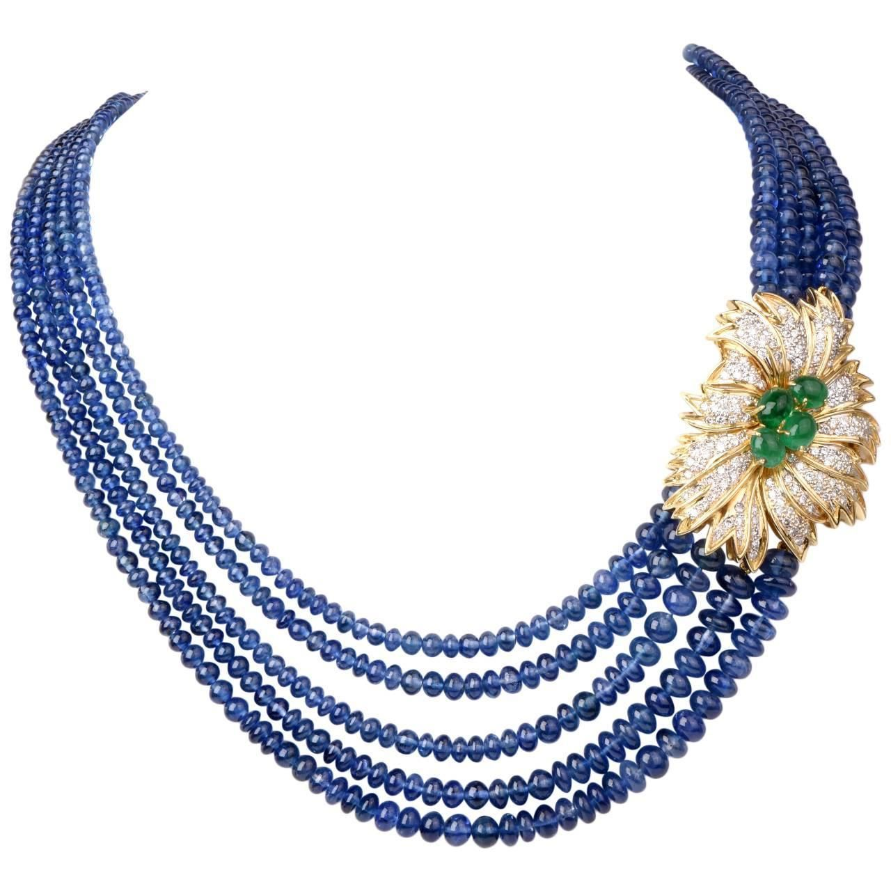 22 carat gold floral designer pendant with multiple beads chain and - Brilliant Sapphire Beaded Necklace With Emerald Diamond Gold Floral Motif Clasp