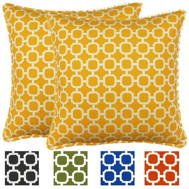 Scalloped Coral Corded Indoor/ Outdoor Square Pillows (Set of 2 ...