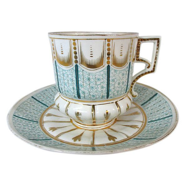 Pre-Owned Old Paris Moustache Cup & Saucer ($159) via Polyvore featuring home, kitchen & dining, drinkware, decorative accessories, mustache cup, green cups and moustache cup