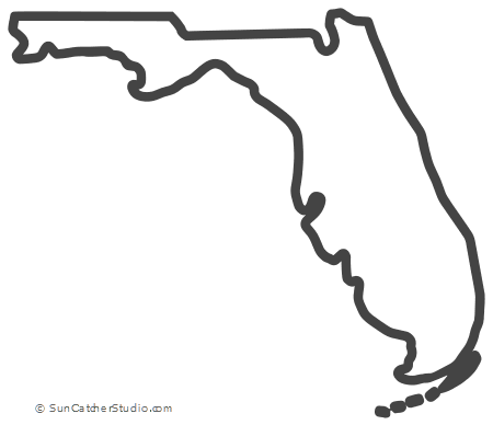 Shape Of Florida On Map Florida – Map Outline, Printable State, Shape, Stencil, Pattern