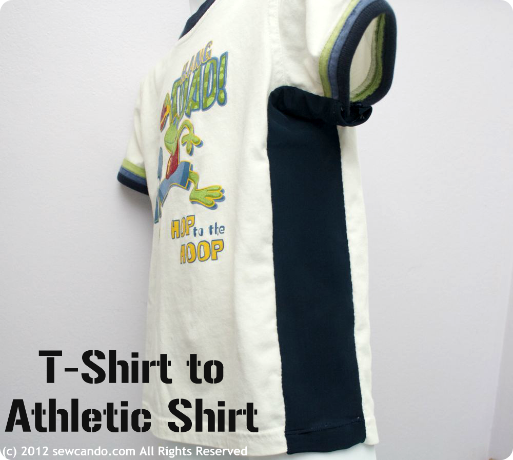 Sew Can Do: Basic T-Shirt to Athletic Shirt in 5 Minutes!  I did this twice for my beloved shirts for my kids that they couldn't pass on and they wear it for just another seasone or tow...