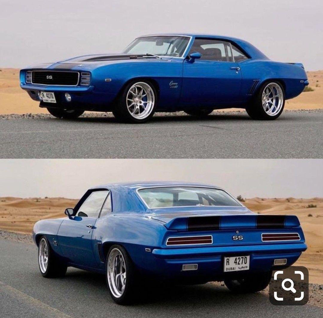 Blue and black 1969 camaro