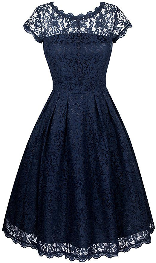 Angerella Women's Retro Causal Dresses Navy Style Evening Party Prom Dress