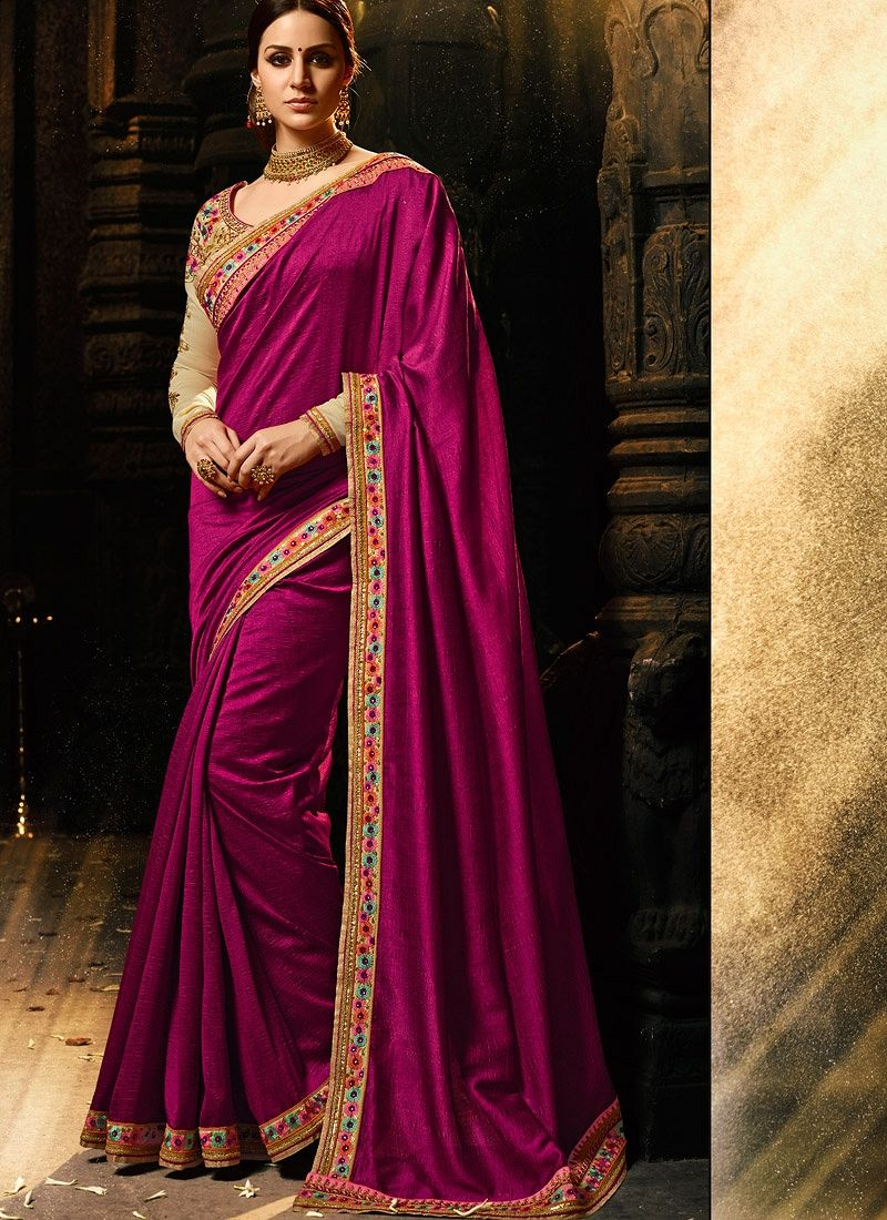 77af051c4071e2 Buy Wine and chiku color silk Party wear saree in UK