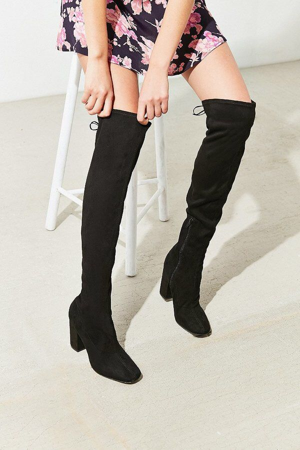 Sexy Suede Thigh High Boots - Urban Outfitters women's shoes footwear black fashion accessory stylish