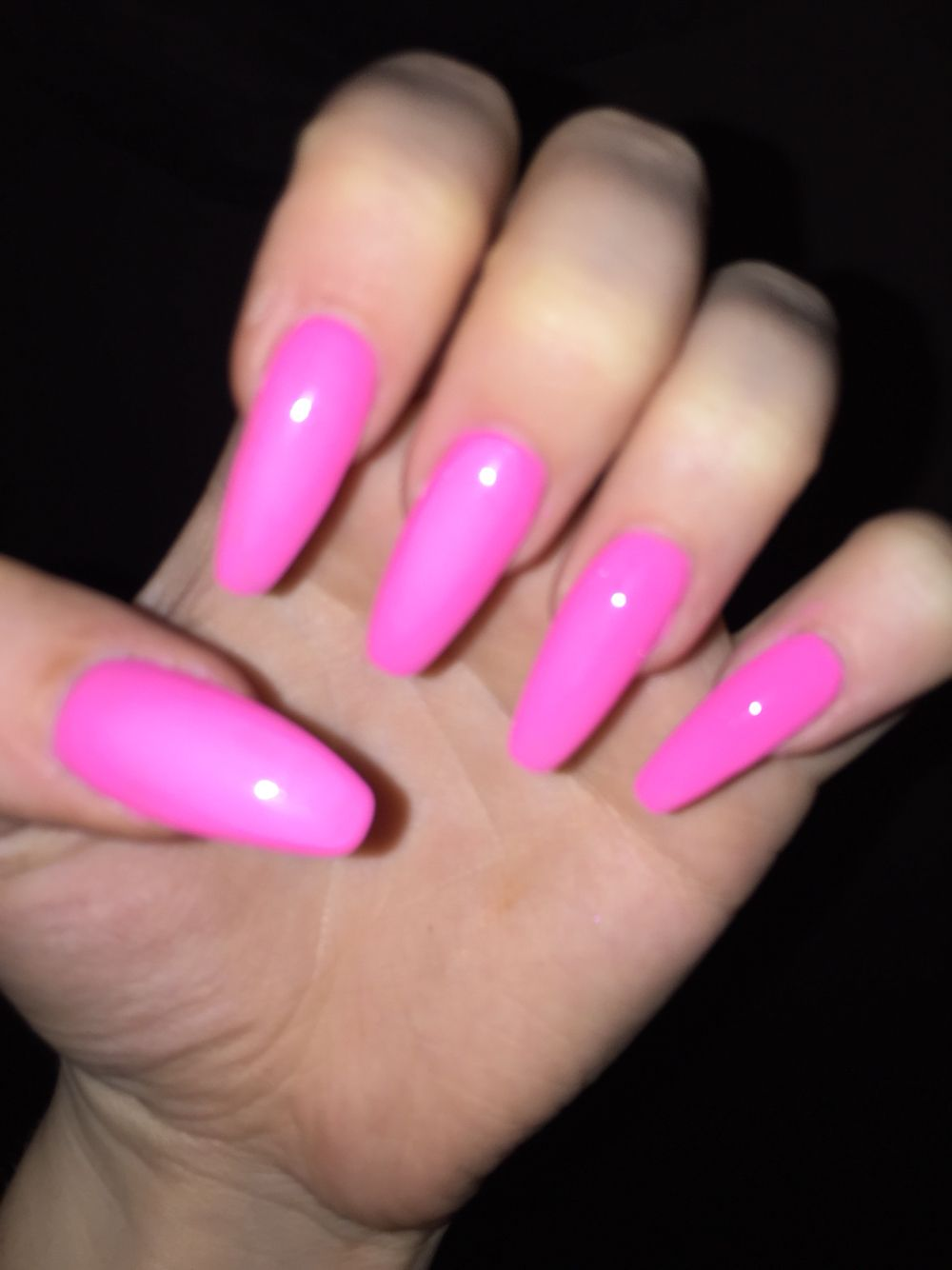 Neon Pink Acrylic Coffin Nails