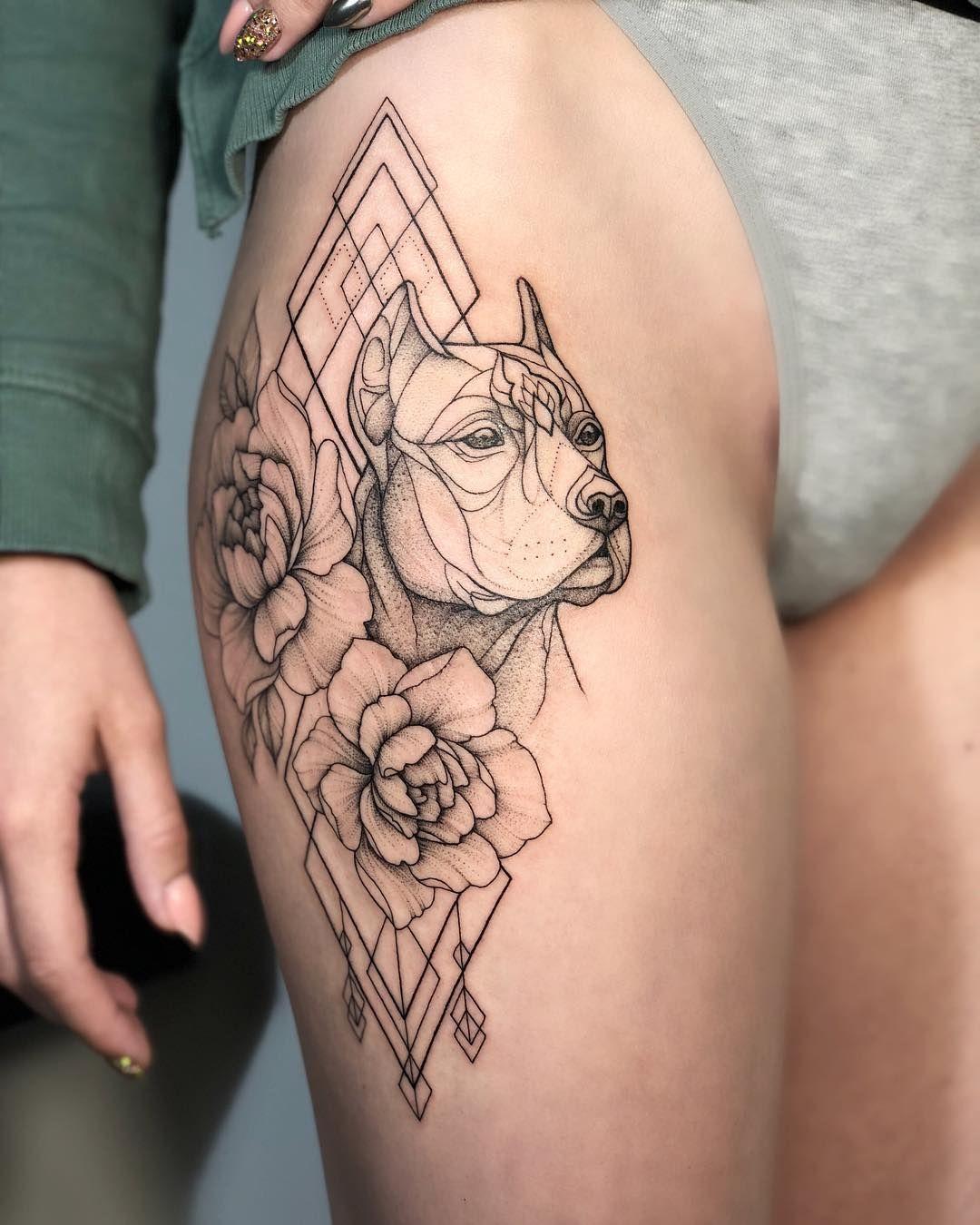 Tattoo Irainkers Linework Dotwork Geometry Animaltattoo Dog Animal Tattoos For Women Dog Tattoos Thigh Tattoos Women