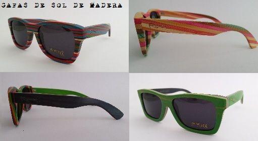 Nuevas tendencias en gafas de sol realizadas a mano en madera natural de bambú, roble o zebrano. Ligeras y coloridas con lentes polarizadas.
