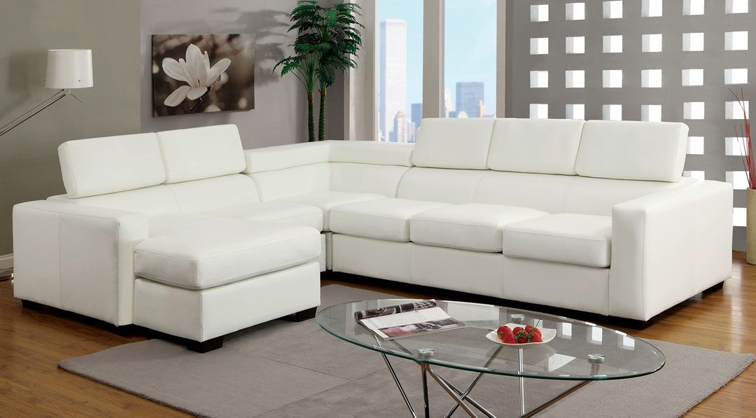 Serres Modern Style White Bonded Leather Sectional Sofa With