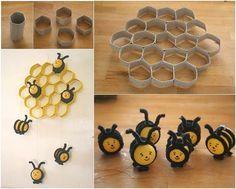 Cómo DIY precioso Colmena y abejas Decoración de papel higiénico Rolls