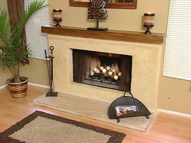 Stucco Over Brick Fireplace