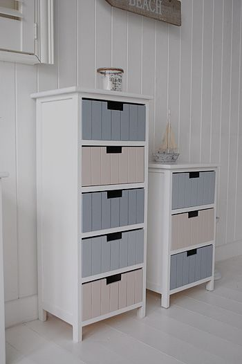 Beach Five Drawer Tallboy Bathroom Freestanding Cabinet