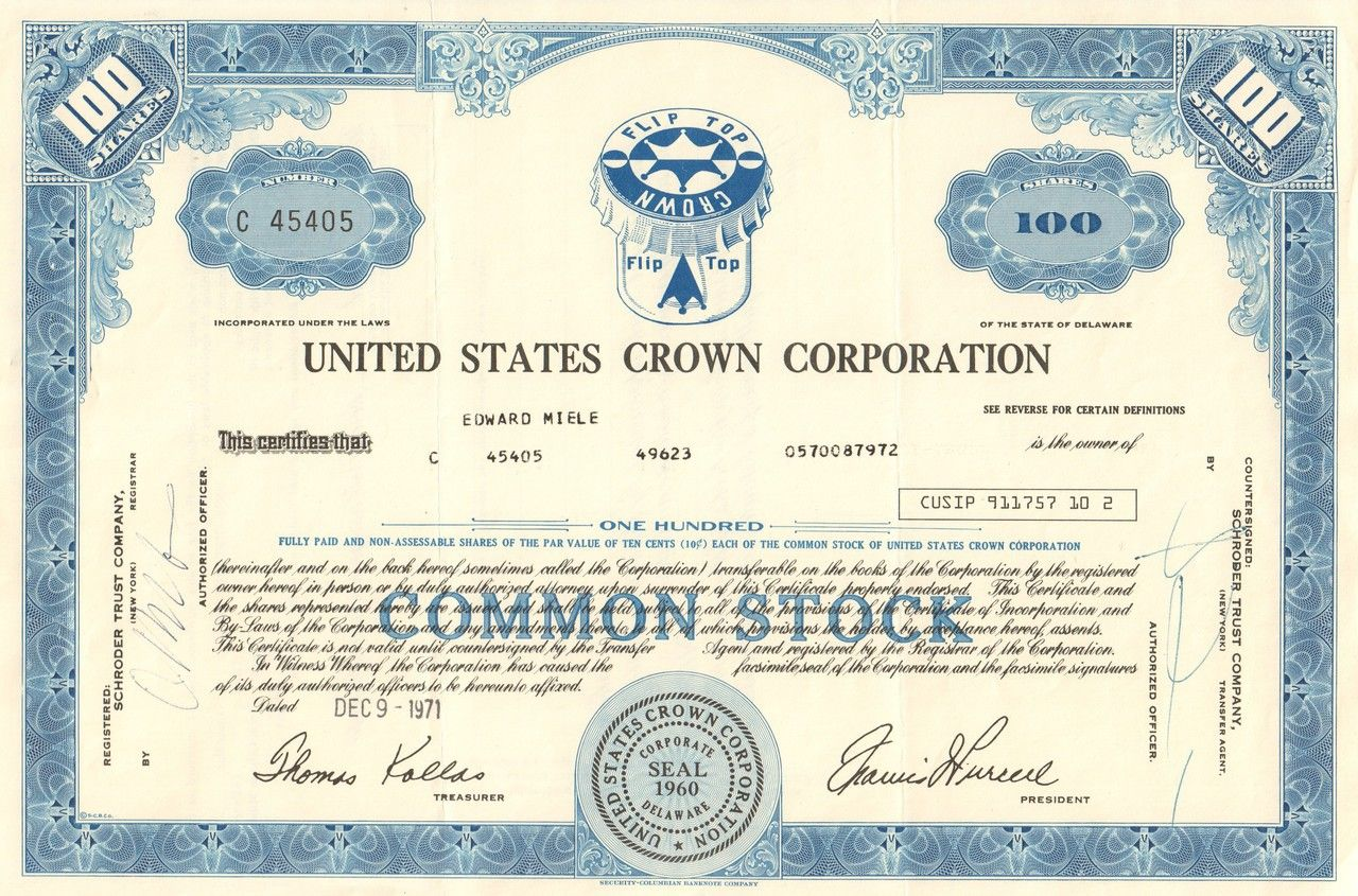 United states crown corporation stock certificate 1971 bottle united states crown corporation stock certificate 1971 bottle caps 1betcityfo Choice Image
