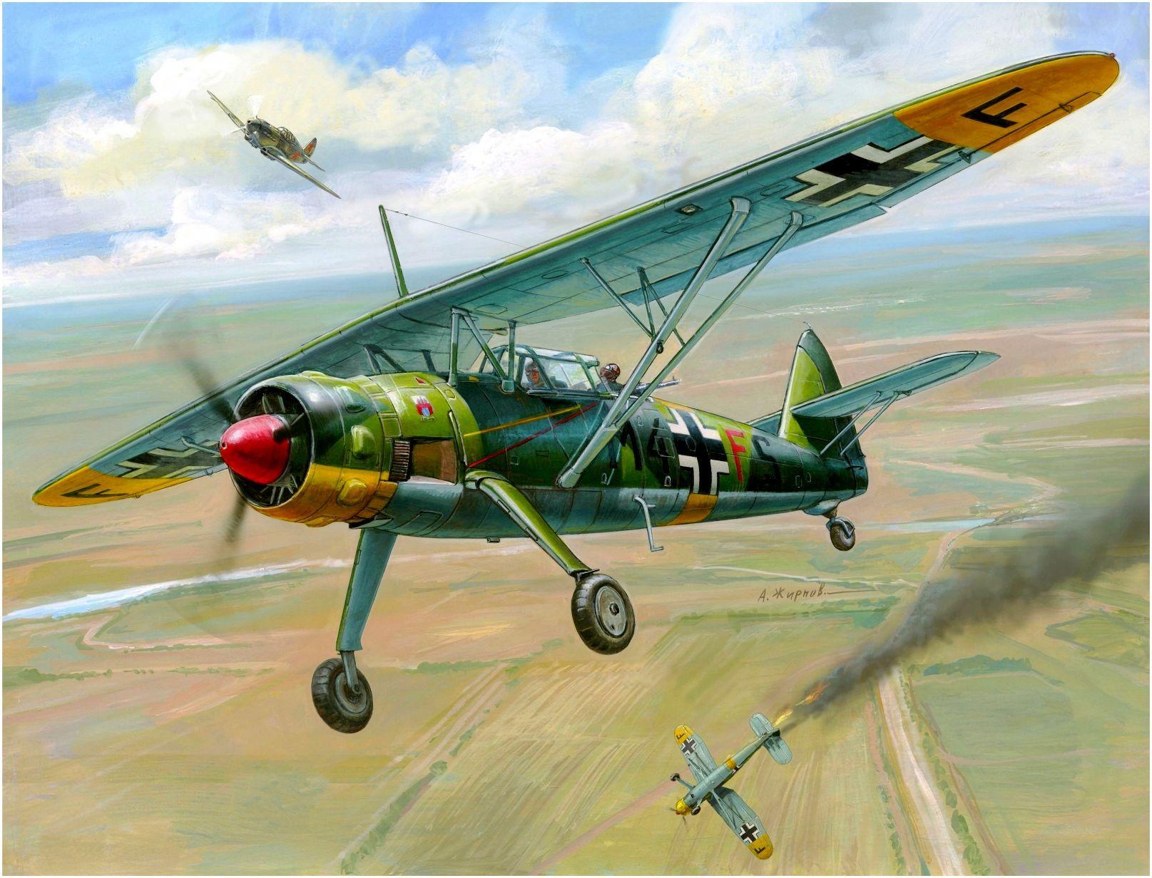German Henschel Hs-126B-1 under attack