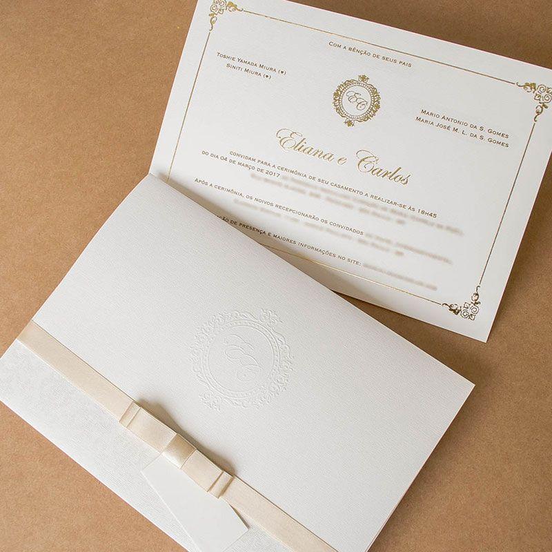4fe10f63e convite de casamento tradicional com laço de cetim Papel e Estilo