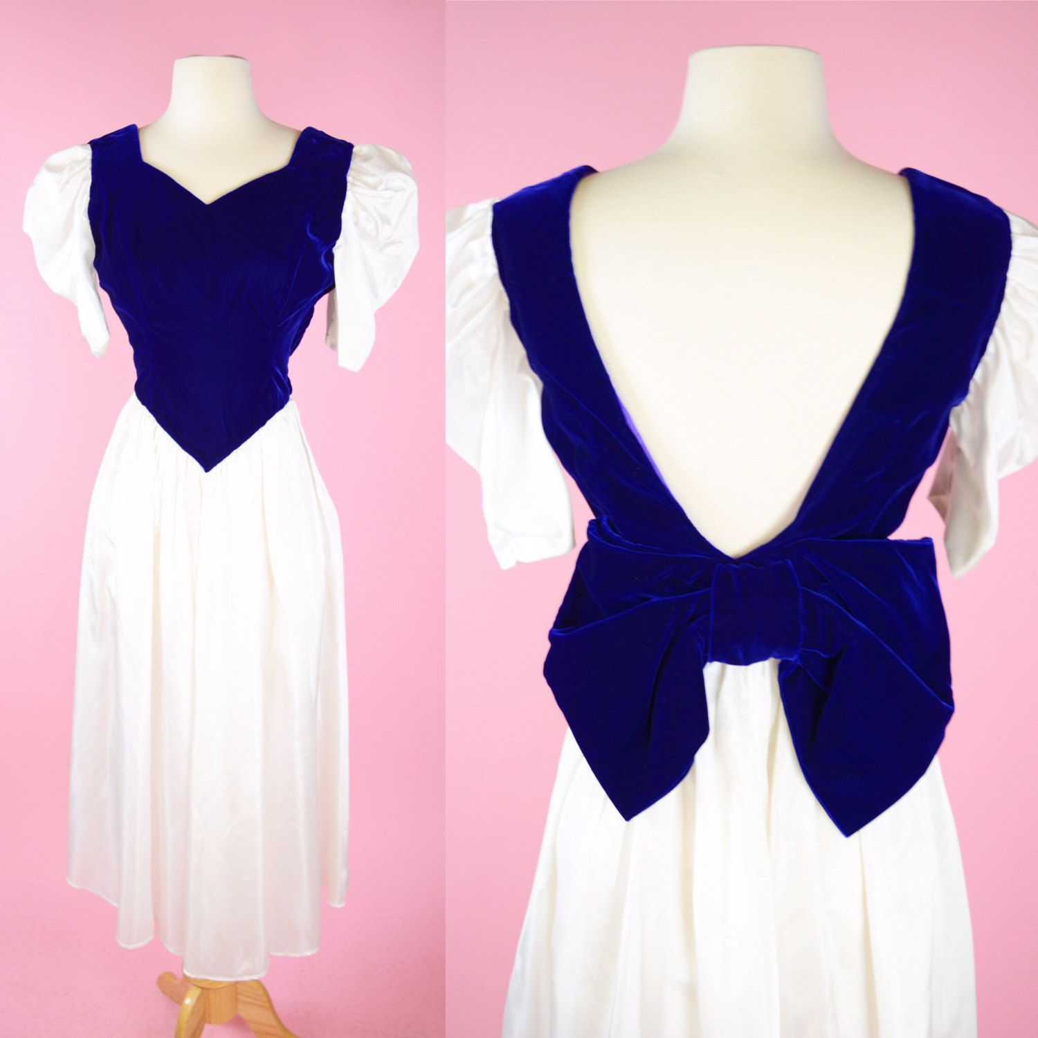 Vintage White & Purple Velvet Prom Dress // 1980s Retro Party Dress Womans Size Small by RIPandROSE on Etsy