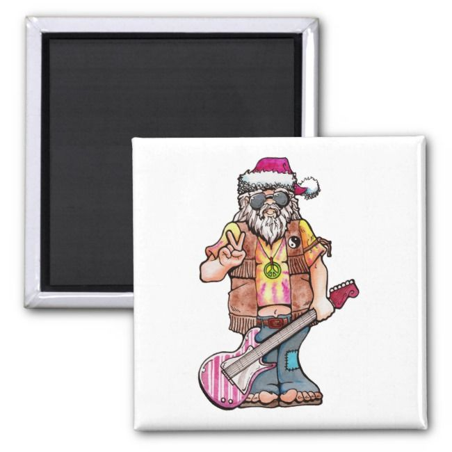 Hippie Santa says Cool Yule Magnet