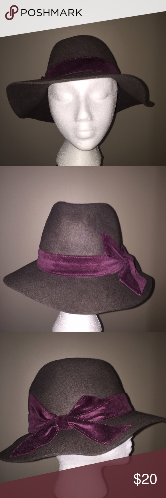 Cynthia Rowley floppy hat Grey with cute plum bow. No trades.  See my FAQ's if you have general questions.  Happy Poshmarking! Cythia Rowley Accessories Hats