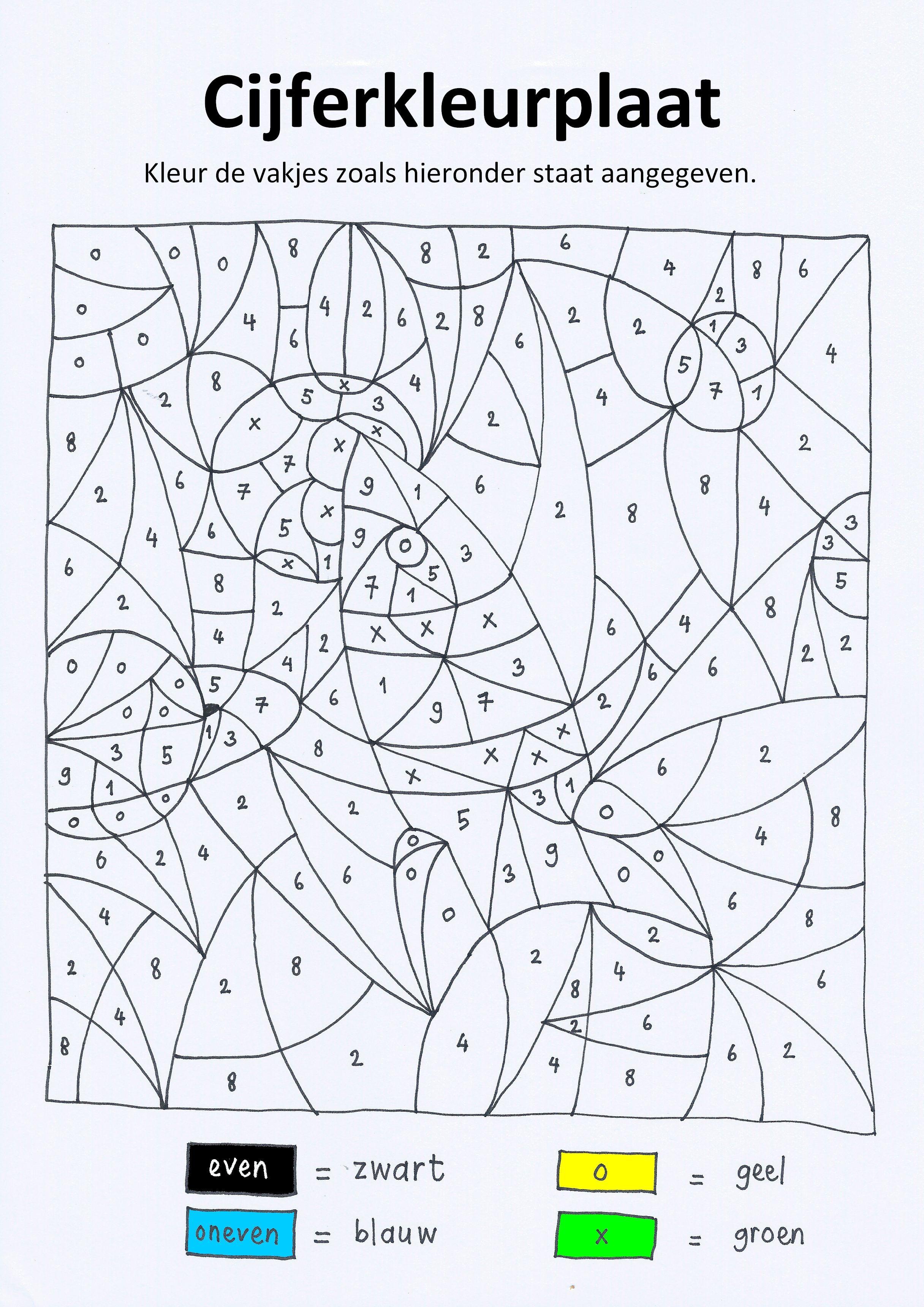cijferkleurplaat ruimte met even oneven getallen tot