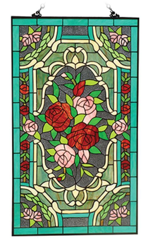 """Tiffany Style Roses Stained Glass 32"""" X 20"""" Window Panel"""