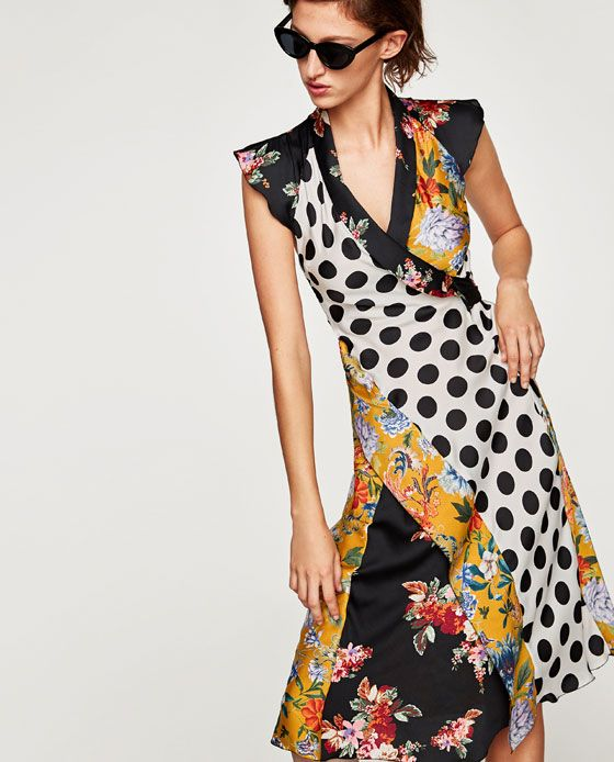 4c903e60ad4d6 Image 2 of FLORAL AND POLKA DOT PATCHWORK DRESS from Zara Vestidos Rebajas