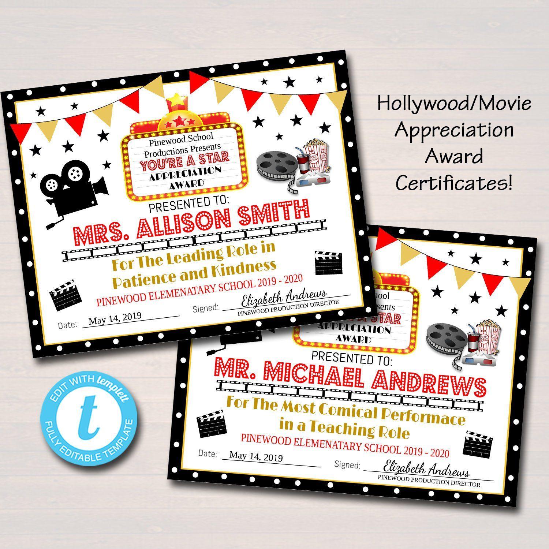 Editable Appreciation Hollywood Award Certificates Movie Vip Etsy Hollywood Teacher Appreciation Teacher Party Staff Appreciation Film festival award certificate template