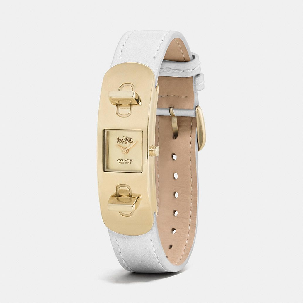 COACH SWAGGER GOLD PLATED DOUBLE TURNLOCK STRAP WATCH