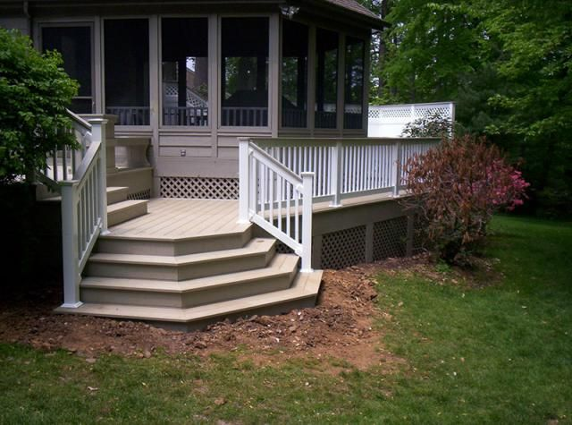 Azek Brownstone Deck With Waterfall Steps Lattice And