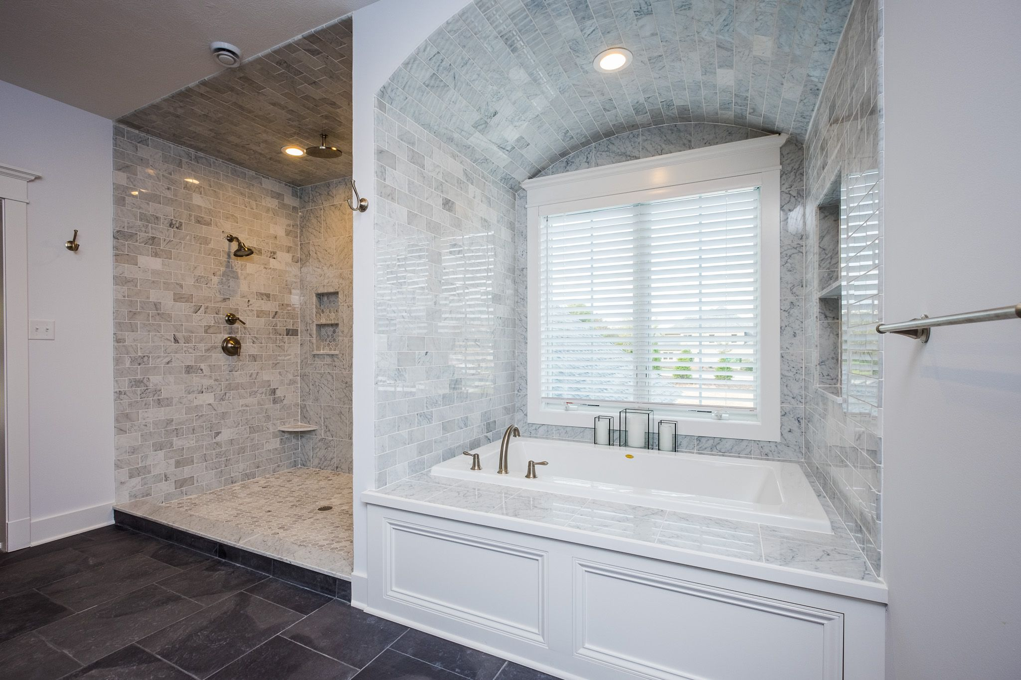 Dream master bathrooms tubs - Dream Master Bathroom With Custom Tile Work Kohler Soaking Tub Surrounded By Beautiful Grey Tile