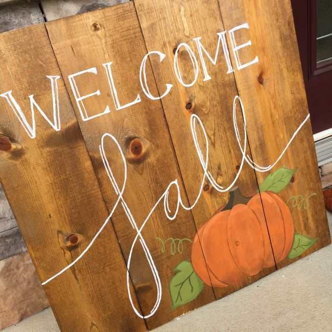 Diy Fall Wood Sign And Outdoor Decorations Brass And